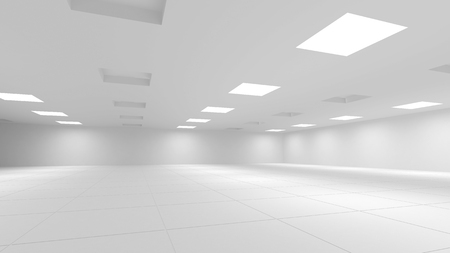 Abstract white 3d interior with square lights photo