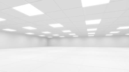Abstrakt weißen Büro 3D Interior mit quadratischen Lichter