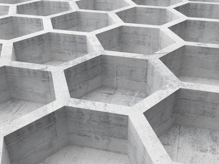Gray concrete honeycomb structure