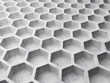 Gray concrete honeycomb structure background pattern. 3d illustration illustration