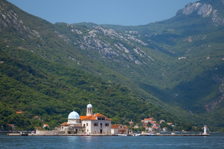 Bay of Kotor. Small Church on island Our Lady of the Rocks photo