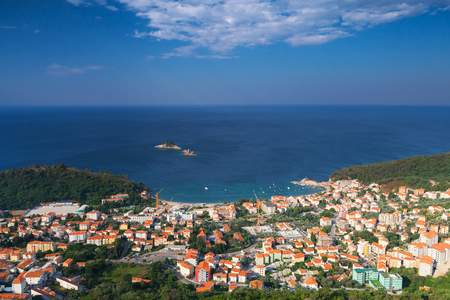 Petrovac town landscape, Montenegro. Adriatic Sea Coast photo