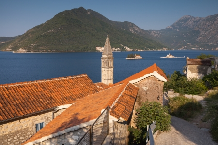 Perast town landscape, Bay of Kotor, Montenegro photo