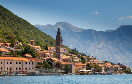 Old town landscape, Perast, Kotor Bay, Montenegro photo