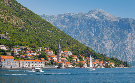 Perast town summer landscape, Bay of Kotor, Montenegro photo