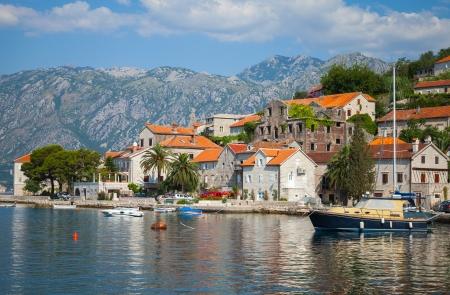 Main embankment of Perast town,Kotor Bay, Montenegro photo