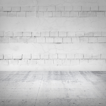 Abstract empty white interior with brick wall and concrete floor photo