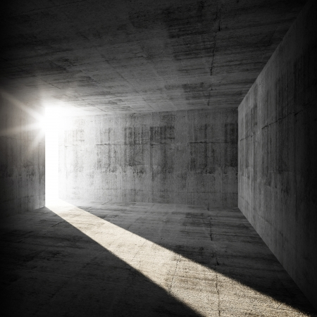celling: Abstract empty dark concrete interior with sunlight beam