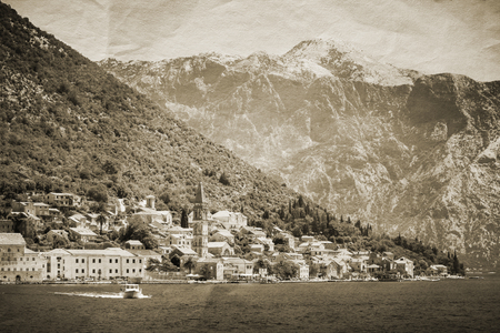 Vintage stylized photo of Perast town, Kotor Bay, Montenegro photo