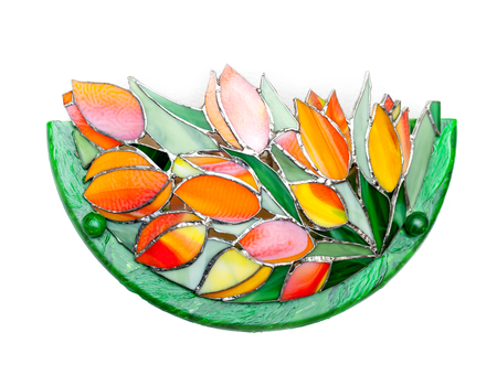 Handmade stained glass lamp with tulips flowers pattern on white photo