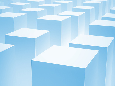 spacing: Abstract 3d background with array of blue boxes Stock Photo