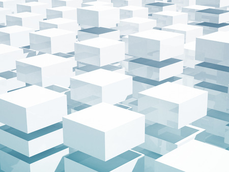 spacing: Abstract 3d background with array of blue and white boxes
