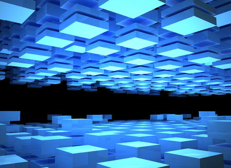 spacing: Abstract digital background with illuminated blue boxes