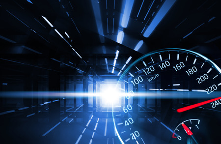 acceleration: Abstract night racing illustration with neon lights and speedometer