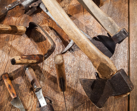 gouge: Group of different old Russian tools for woodworking Stock Photo
