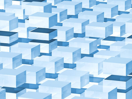 spacing: Abstract digital 3d background with blue boxes pattern