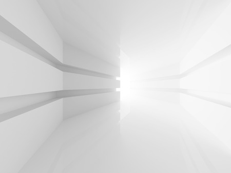 clean room: Abstract white empty room interior with glowing doorway. 3d render Stock Photo