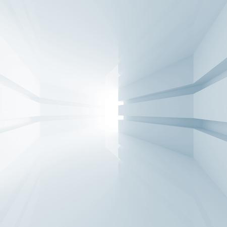 Abstract blue empty room interior with glowing doorway. 3d render photo