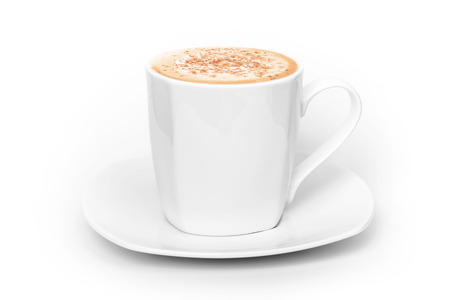 Big white cup of cappuccino above white background photo