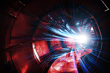 internet speed: Abstract digital technology illustration with red tunnel and blue lights Stock Photo