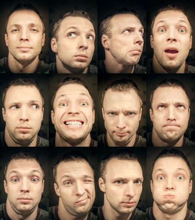 Young handsome Caucasian man, set of close-up emotional portraits photo