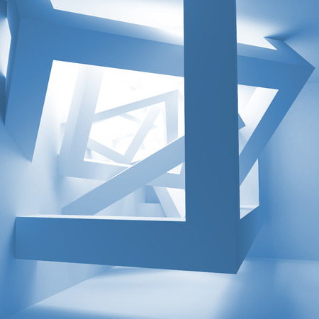 Blue abstract 3d interior with construction of cubes photo