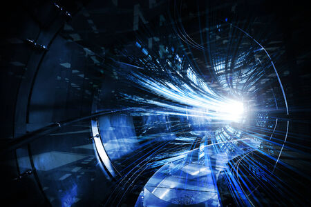 Abstract digital technology illustration with blue tunnel illustration