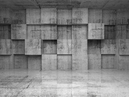 dirty room: Abstract empty concrete interior with decoration cubes on the wall