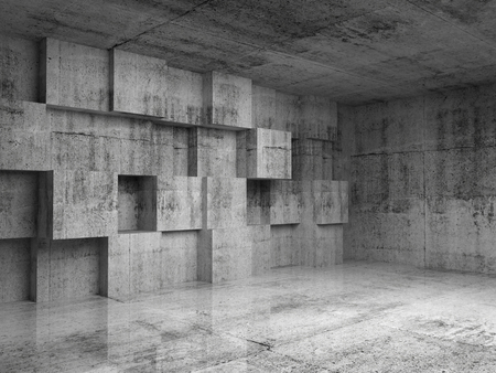 Abstract empty concrete 3d interior with decoration cubes on the wall photo