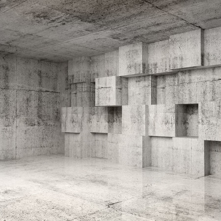 Abstract concrete 3d interior with cubes on the wall Фото со стока