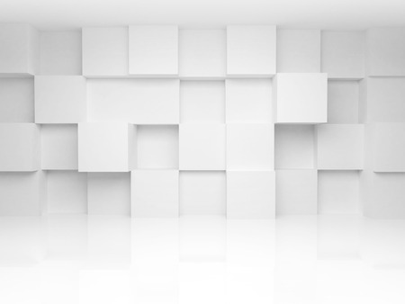 Abstract 3d architecture background with white cubes on the wall