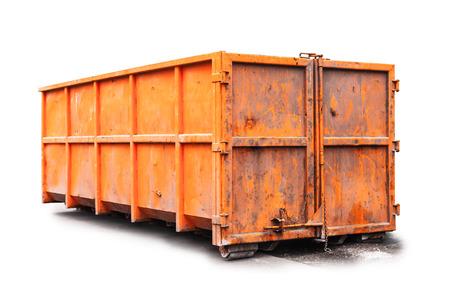 Big metal orange trash container isolated on white Stock Photo