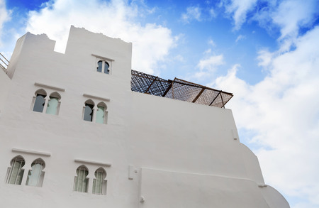 madina: White walls and blue sky. Madina, old part of Tangier, Morocco