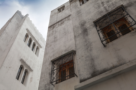 madina: White houses and blue sky. Madina, old part of Tangier, Morocco Stock Photo