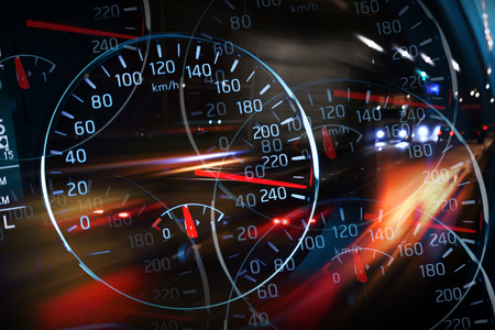 movement control: Abstract night racing illustration with blurred lights and speedometers