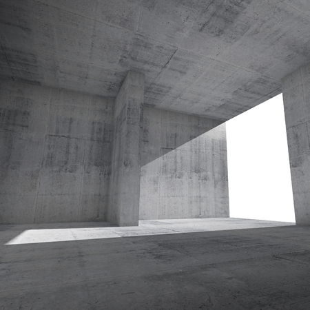 Abstract empty room interior with concrete walls and glowing window