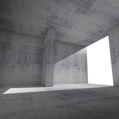 hormigon: Interior de la sala vacía de fondo con muros de hormigón y ventana que brilla intensamente Foto de archivo