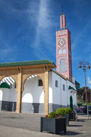 Old colorful mosque in Tangier town, Morocco photo