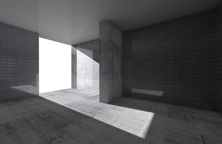 celling: Abstract empty room interior with concrete floor and tile on walls Stock Photo