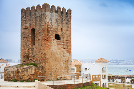 Ancient fortress tower in Tangier town, Morocco photo