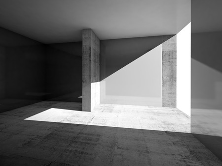 partition: Abstract empty room interior with gray walls and concrete floor Stock Photo
