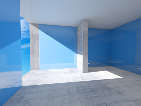 Abstract empty room interior with blue walls and concrete floor photo