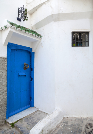 Blue door and white walls  Medina, old part of Tangier, Morocco
