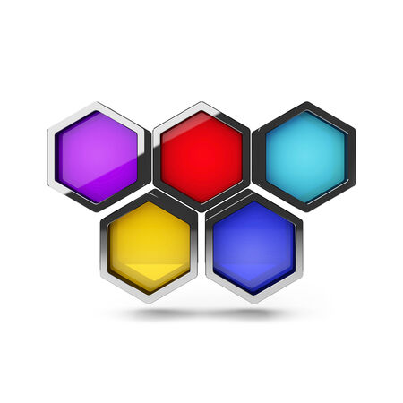 Abstract 3d colorful honeycomb design object isolated on white photo