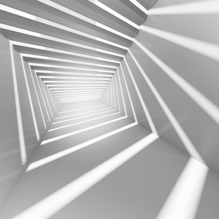 Abstract white 3d interior with light beams Stock Photo