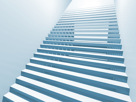 Abstract white 3d interior background with staircase photo