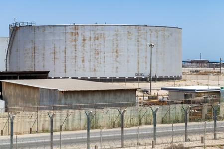 Big gray tank with diesel in Saudi Arabia 写真素材