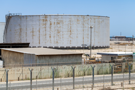 nafta: Big gray tank with diesel in Saudi Arabia Stock Photo