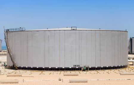 Big gray tank with diesel fuel in Saudi Arabia