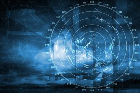 Nowoczesny cyfrowy ekran radaru statku nad niebieskim tle streszczenie